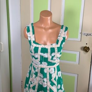 MAEVE DRESS GREEN TANK FIT FLARE DAISIES